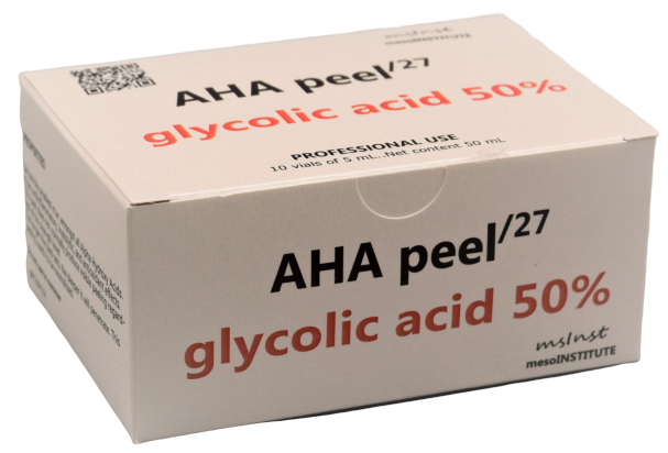 50 AHA glycolic chemical peel anti aging mimic wrinkles excessive oil hormonal acne enlarged pores hyperkeratosis age spots dry skin mature skin sun damage mesoinstitute